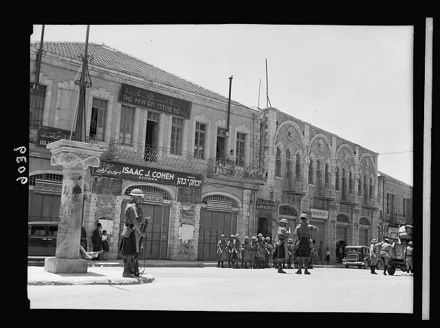 Palestine disturbances 1936. Scotch [i.e., Scots] troops on the Mamillah Road near Jaffa Gate