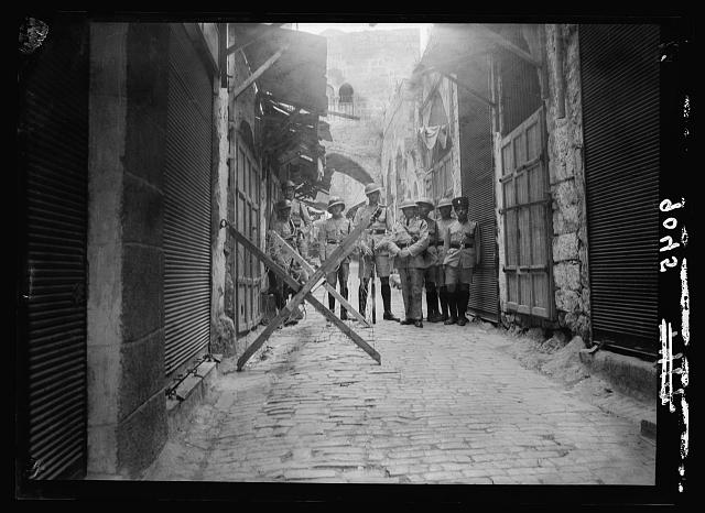 Palestine disturbances 1936. Narrow street in Jewish Quarter barricaded (Old City)
