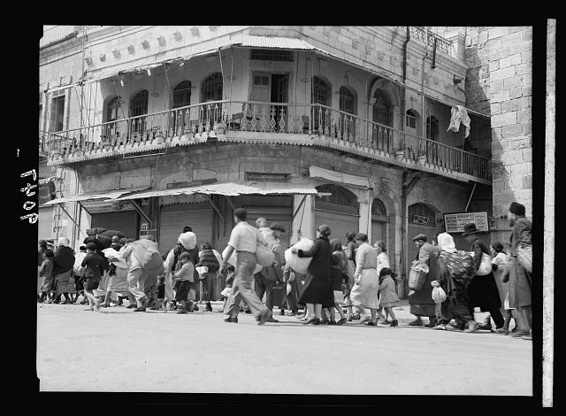 Palestine disturbances 1936. Jewish exodus from the Old City, taken near the Jaffa Gate
