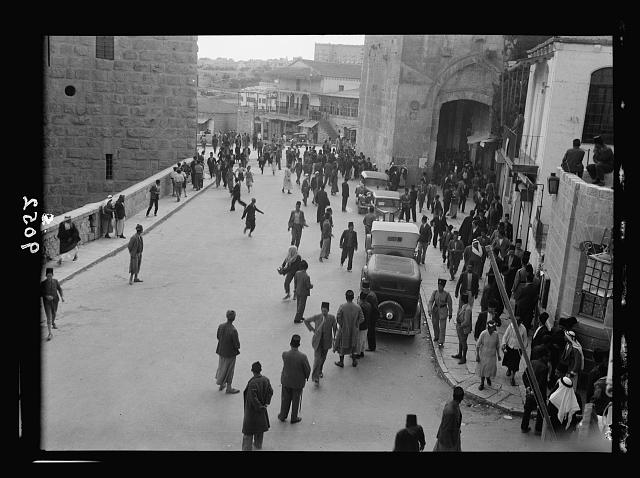 Palestine disturbances 1936. Excitement at the Jaffa Gate over burial of murdered Austrian