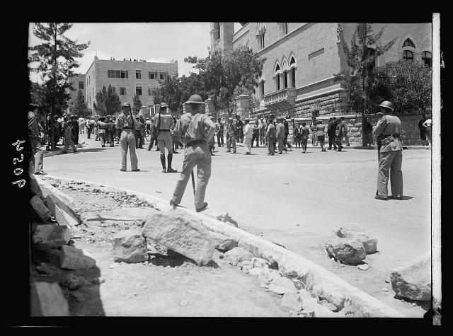 Palestine disturbances 1936. Soldiers on guard during the Jewish funeral of the Edison Theatre shooting