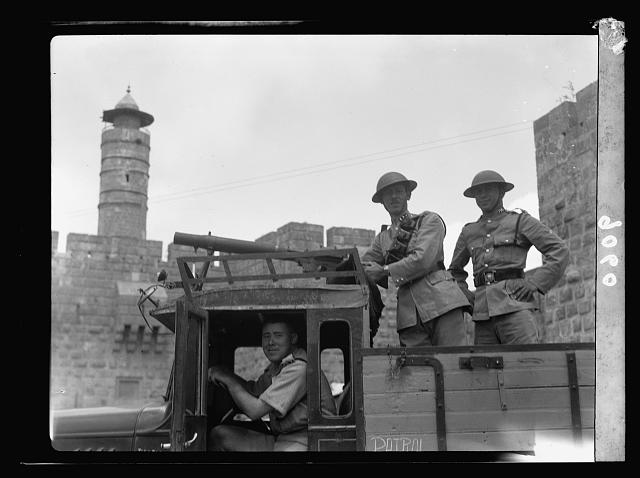 Palestine disturbances 1936. Machine-gun mounted on a police truck
