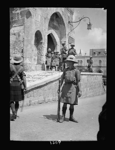 Palestine disturbances 1936. British troops on guard at the Tower of David