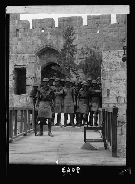 Palestine disturbances 1936. British troops in the Tower of David standing by on a Friday