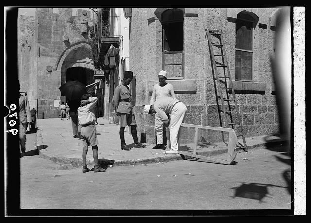 Palestine disturbances 1936. Jaffa Gate police-station windows being screened against insertions of bombs