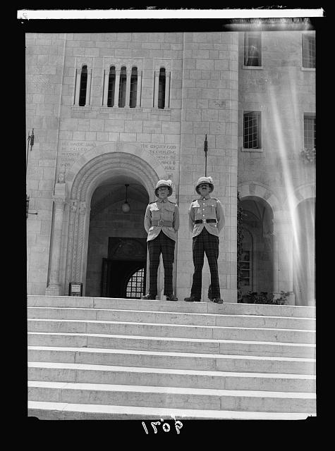 Palestine disturbances 1936. Troops guarding the Y.M.C.A. building