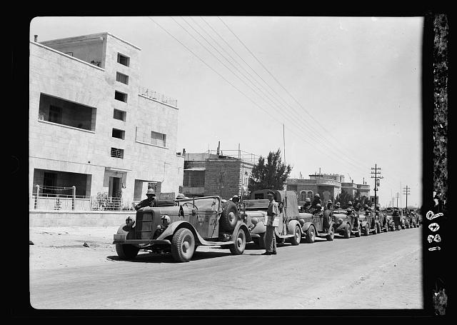 Palestine disturbances 1936. A line of War Dept. cars on the Bethlehem road