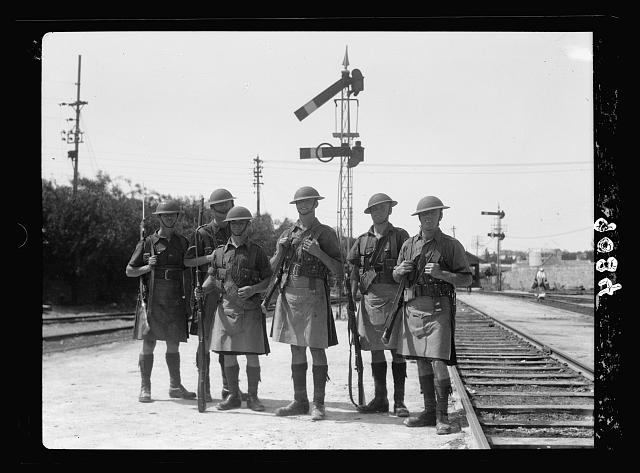 Palestine disturbances 1936. Jaffa-Jerusalem railroad guarded by soldiers