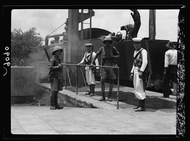 Palestine disturbances 1936. British marines doing duty on Palestine railroads