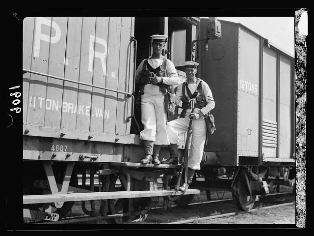 Palestine disturbances 1936 . British marines as breaksmen on Palestine railroads