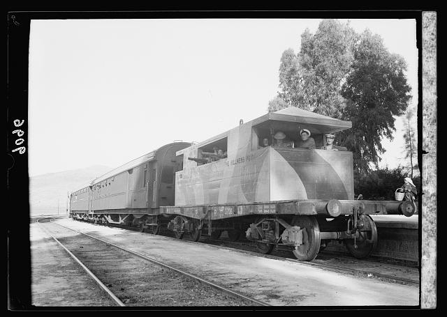 Palestine disturbances 1936. Armoured concrete coach escorting passenger train