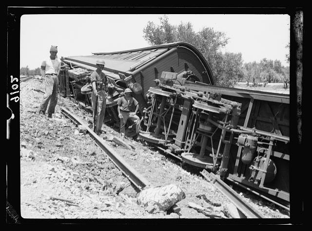 Palestine disturbances 1936. Derailed train at Kefr-Jenuis, closer view