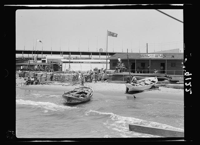 Palestine disturbances 1936. The Tel-Aviv custom station at the jetty
