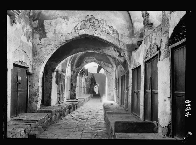 Palestine disturbances 1936. Deserted scene in Jewelers market, as it has appeared during the months of strike, otherwise a crowded bazaar