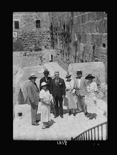 """Palestine disturbances 1936. The senatorial party at the """"Western Wall"""" commonly known as the Jews' Wailing Place, or Wailing Wall seen in background"""