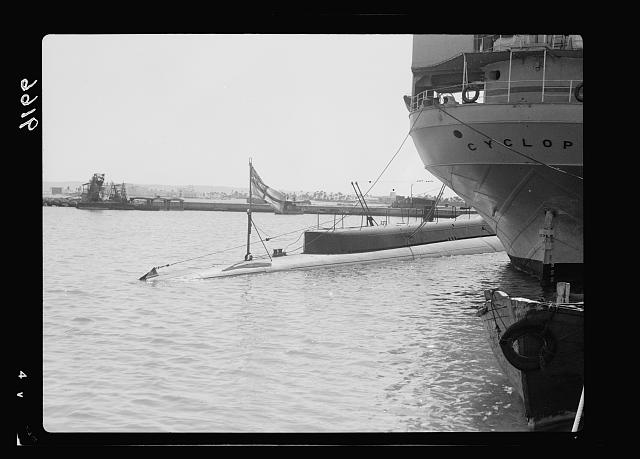 Palestine disturbances 1936. One of the sub-marines diving near the freight ship [Haifa]