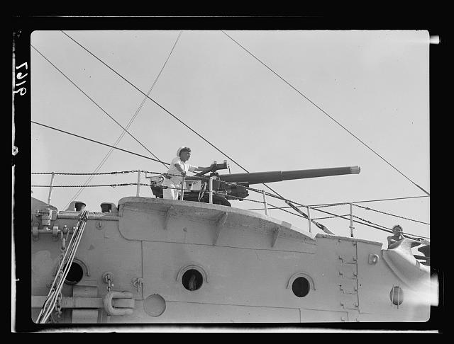 Palestine disturbances 1936. Naval gun mounted on troopship [Haifa]