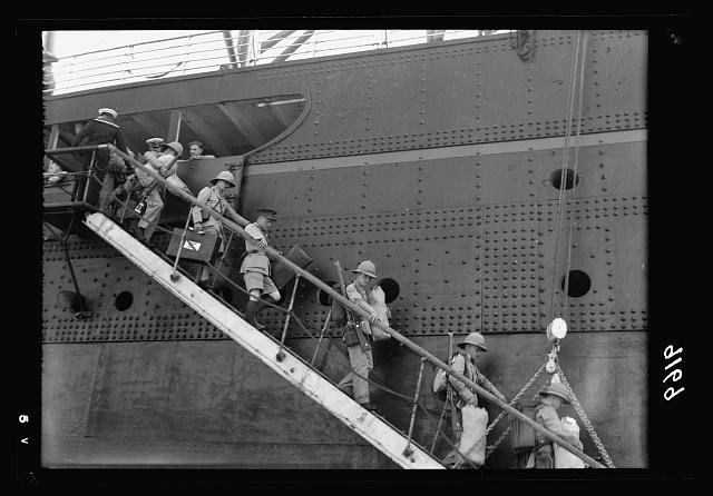 Palestine disturbances 1936. British officers coming down the gangway off the S.S. Dorsetshire [Haifa]