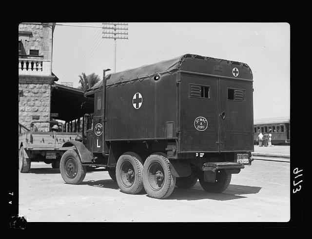 Palestine disturbances 1936. Army ambulance, just landed from the ships