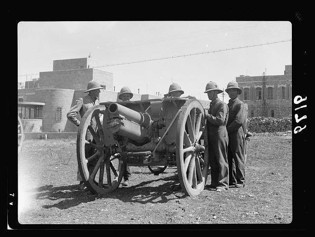 Palestine disturbances 1936. Field artillery R.A. newly arrived in Jerusalem, parked close to Royal Signal's camp south of Jerusalem near Talpioth