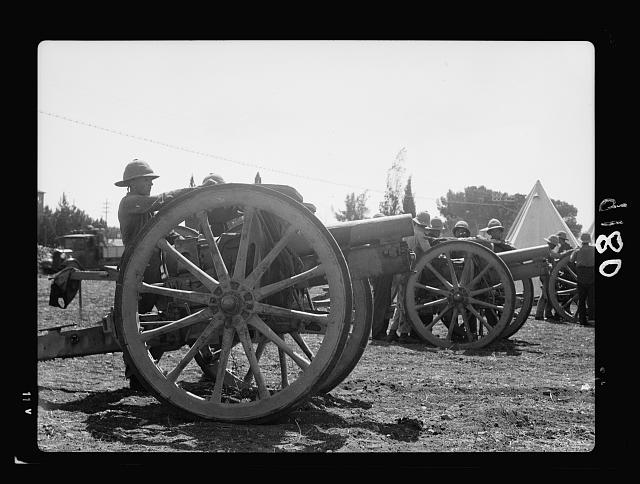 Palestine disturbances 1936. Field artillery R.A. newly arrived in Jerusalem, parked close to Royal Signal's camp south of Jerusalem near Talpioth