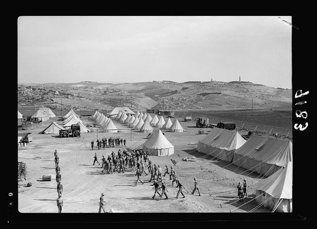 Palestine disturbances 1936. Section of Royal Signal&#39;s camp, showing Mt. of Olives and Old City in background