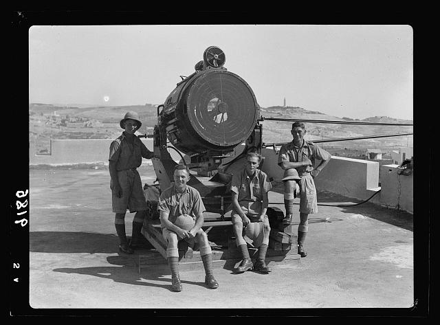 Palestine disturbances 1936. The Royal Engineers search-light, mounted on Arab College, South of Jerusalem