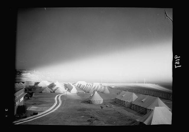 Palestine disturbances 1936. A night picture showing military camp and Olivet (in distance) lighted by the search-light beam