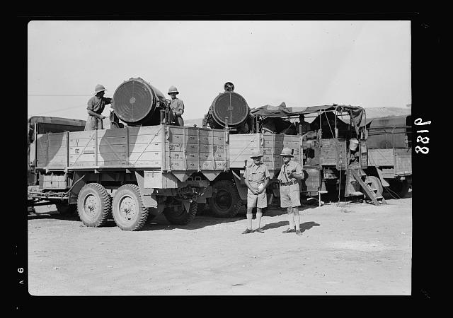 Palestine disturbances 1936. Mobile search-lights mounted on lorries