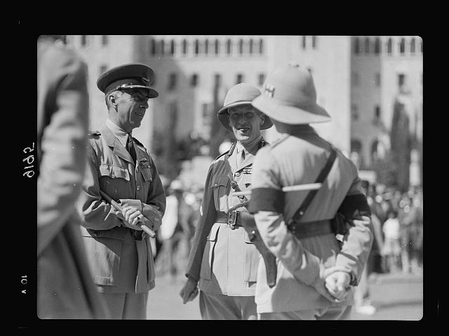 Palestine disturbances 1936. Lt. J.G. Dill and Air Vice Marshal Pierce, etc. before King David Hotel