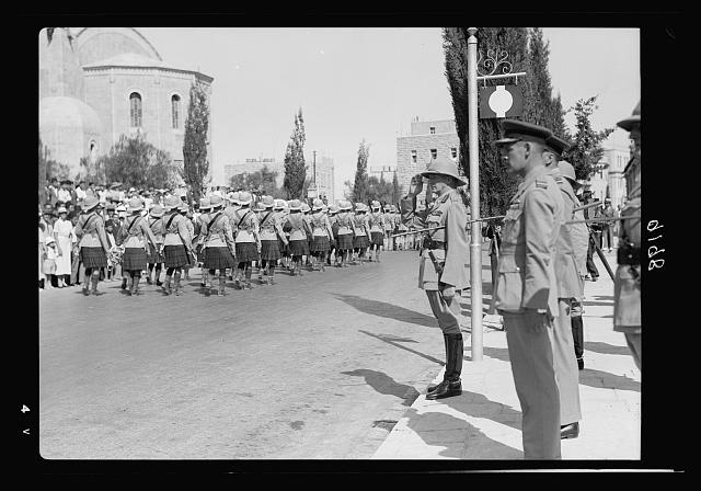 Palestine disturbances 1936. The Cameron Highlanders, in the parade march