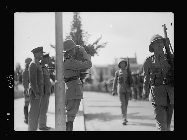 Palestine disturbances 1936. Lt. General Dill saluting the Scots Guards