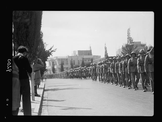 Palestine disturbances 1936. The Scots Guards on parade march