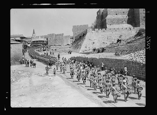Palestine disturbances 1936. The Scots Guard parade preceded by the band