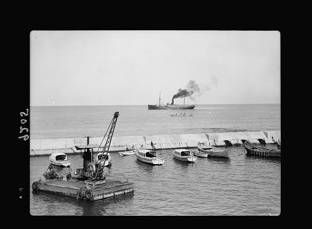 Palestine disturbances 1936. Jaffa harbour, arrival of first ship for unloading in Jaffa harbour on termination of the strike