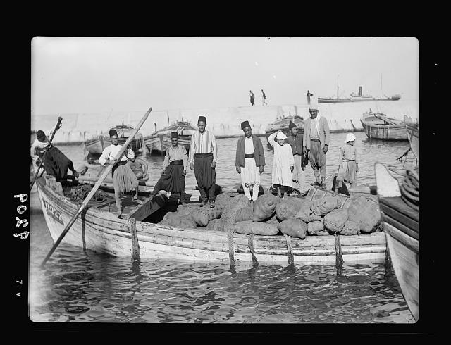 Palestine disturbances 1936. The first boat of provisions landed from the first ship to unload after the breaking of the strike [Jaffa]
