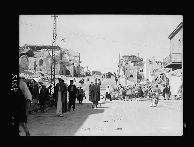 Palestine disturbances 1936. The new Jaffa boulevard looking toward the custom house area