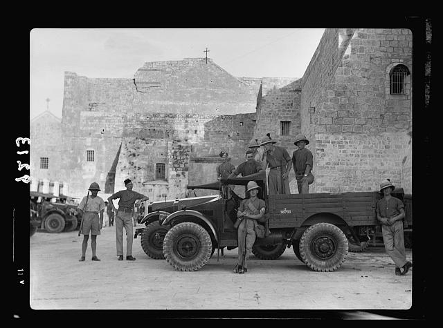 Palestine disturbances 1936. Troops and cars before the Church of Nativity in Bethlehem