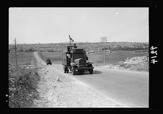 Palestine disturbances 1936. Tail end of the last escorted convoy leaving Jerusalem for the North on Oct. 18, 1936, rear guard cars of the convoy