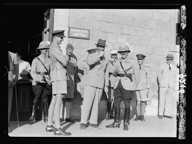 Palestine disturbances 1936. Air Vice Marshal Pierce & Col. Simmonds of the Cameron Highlanders at the Jerusalem R.R. [i.e., railroad] station on the occasion of the former leaving Palestine