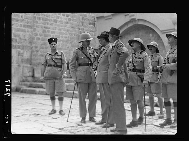 Palestine disturbances 1936. Lieut. General Dill on a sightseeing tour in the Old City. Photo taken in court of the Church of the Holy Sepulchre
