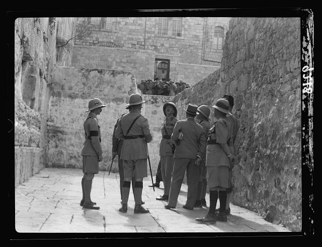 Palestine disturbances 1936. Lt. General Dill visiting the Western Wall or so-called Jewish Wailing Place