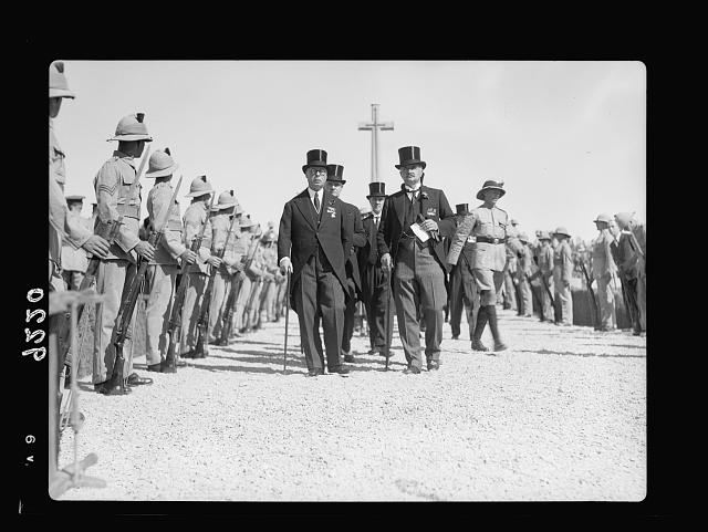 Palestine disturbances 1936. Arrival at the war graves cemetry [i.e., cemetery] of Lieut. General Dill with Chairman & Vice-Chairman of the Royal Commission. Left to right: Rt. Hon. Sir Horrace Rumbold, Lieut. General Dill & Lord Peel [Mount Scopus]
