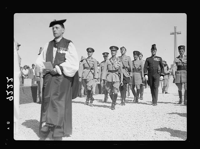 Palestine disturbances 1936. Lieut. General Dill (left) & H.E. (i.e., His Excellency) the High Commissioner (right) leaving the memorial altar, preceded by the Anglican Bishop, George Francis [Mount Scopus]