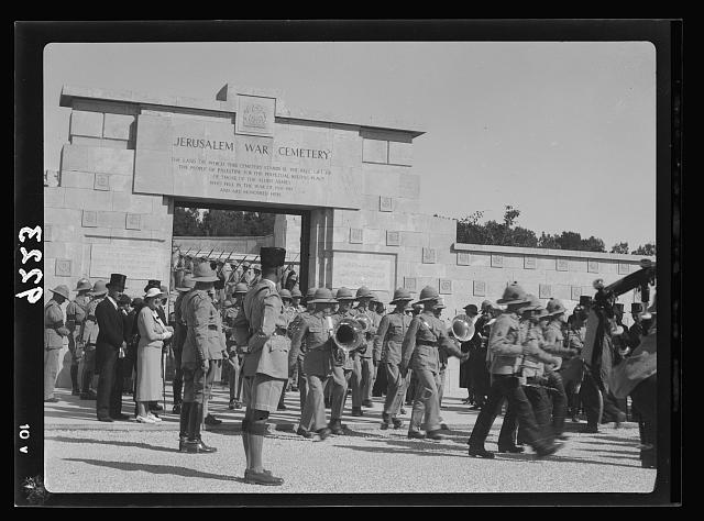 Palestine disturbances 1936. Military Band leaving the Jerusalem War Cemetry [i.e., Cemetery] on Armistice Day [Mount Scopus]