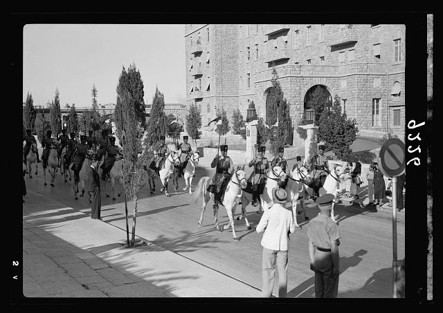 Palestine disturbances 1936. Out-riders horse guard escorting Royal Commission on their official drive to the Government House