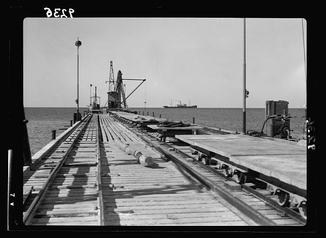 Palestine disturbances 1936. Tel-Aviv Jetty, as in December 1936, 200 ms. [?] Seaward 6.50 wide with three tanks of decauville rails