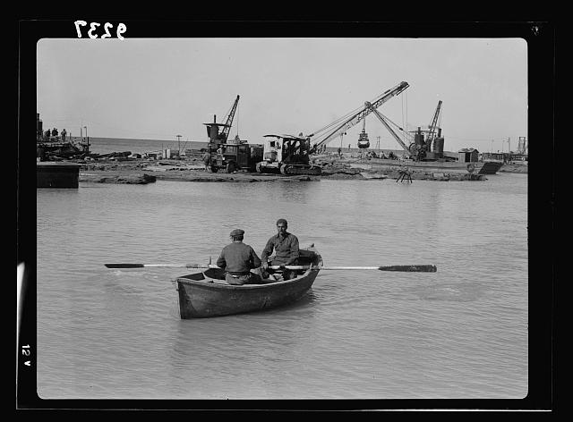 Palestine disturbances 1936. Tel-Aviv Lighter Port, south of the Jetty. View looking toward southern sea-wall