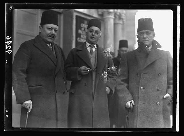 Palestine disturbances 1936. Members of the Arab Higher Committee, leaving the offices of the Royal Commission on Jan. 12, 1937 after their first appearance to give evidence