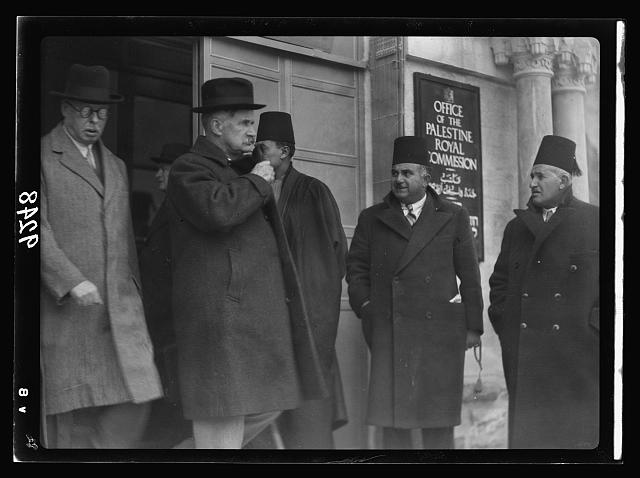 Palestine Disturbances. Lord Peel & the Right Hon. Sir Horace Rumbold, Chairman & Vice Chairman of the Palestine Royal Commission leaving the offices after taking evidence from Arab Higher Committee